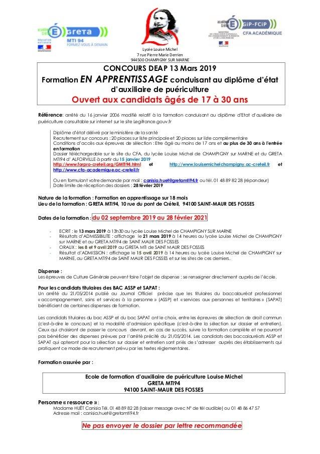 Lycée Louise Michel 7 rue Pierre Marie Derrien 944500 CHAMPIGNY SUR MARNE CONCOURS DEAP 13 Mars 2019 Formation EN APPRENTI...