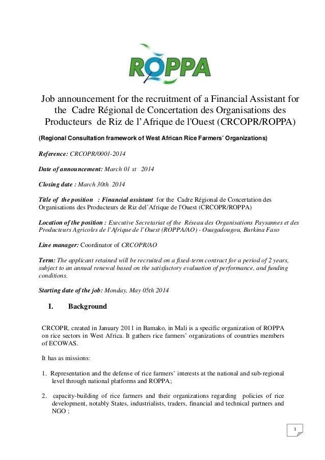 Job announcement for the recruitment of a Financial Assistant for the Cadre Régional de Concertation des Organisations des...
