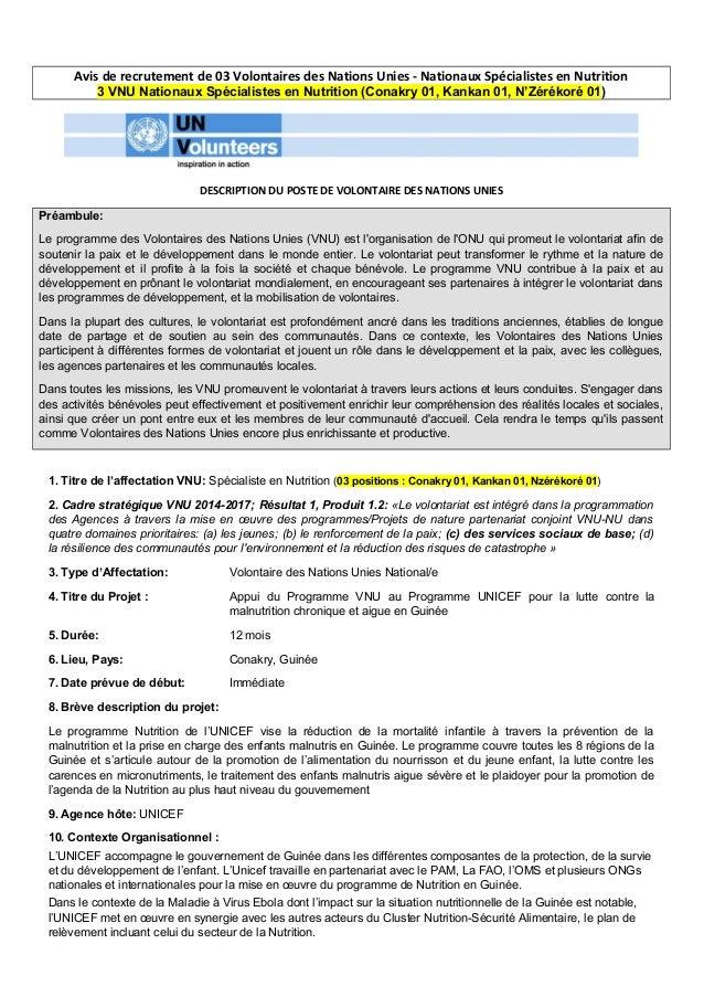 Avis de recrutement de 03 Volontaires des Nations Unies - Nationaux Spécialistes en Nutrition 3 VNU Nationaux Spécialistes...