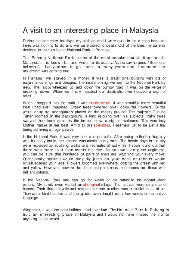 essay about vacation with family in malaysia
