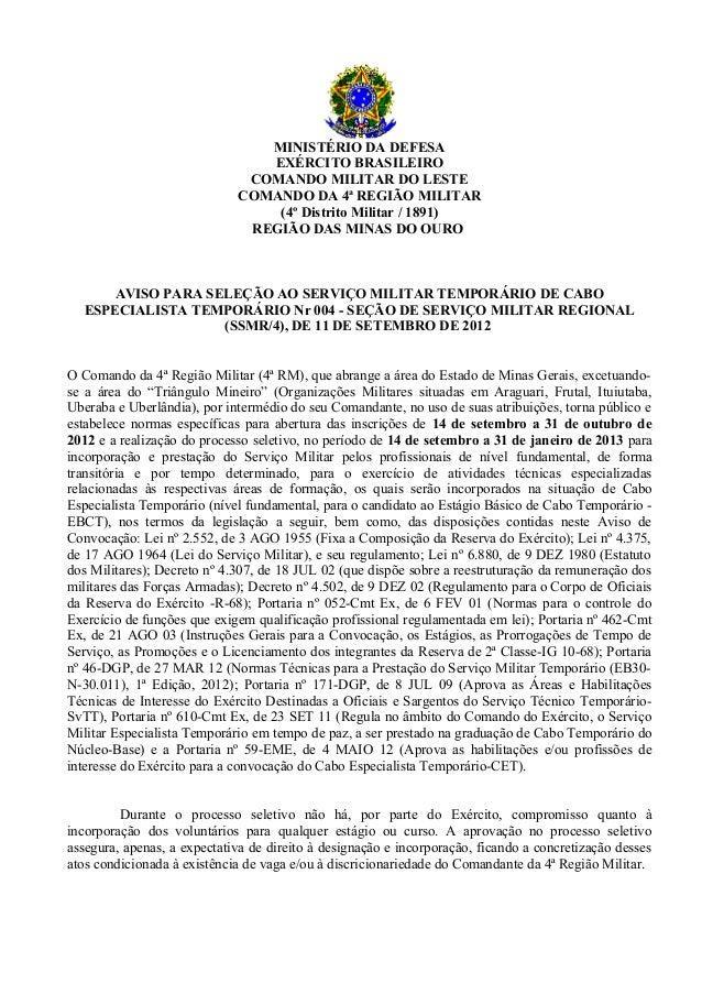 MINISTÉRIO DA DEFESA                                EXÉRCITO BRASILEIRO                              COMANDO MILITAR DO LE...
