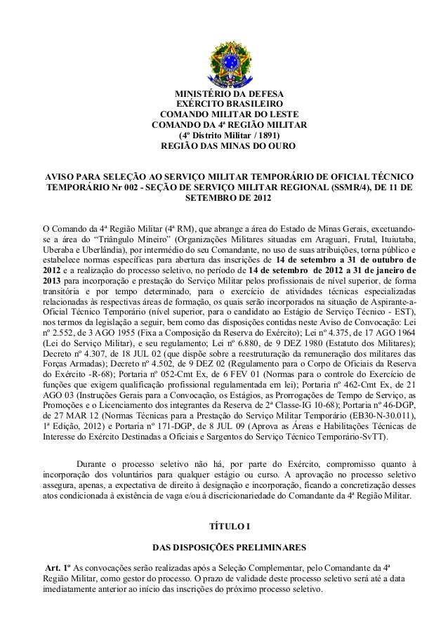 MINISTÉRIO DA DEFESA                                 EXÉRCITO BRASILEIRO                               COMANDO MILITAR DO ...