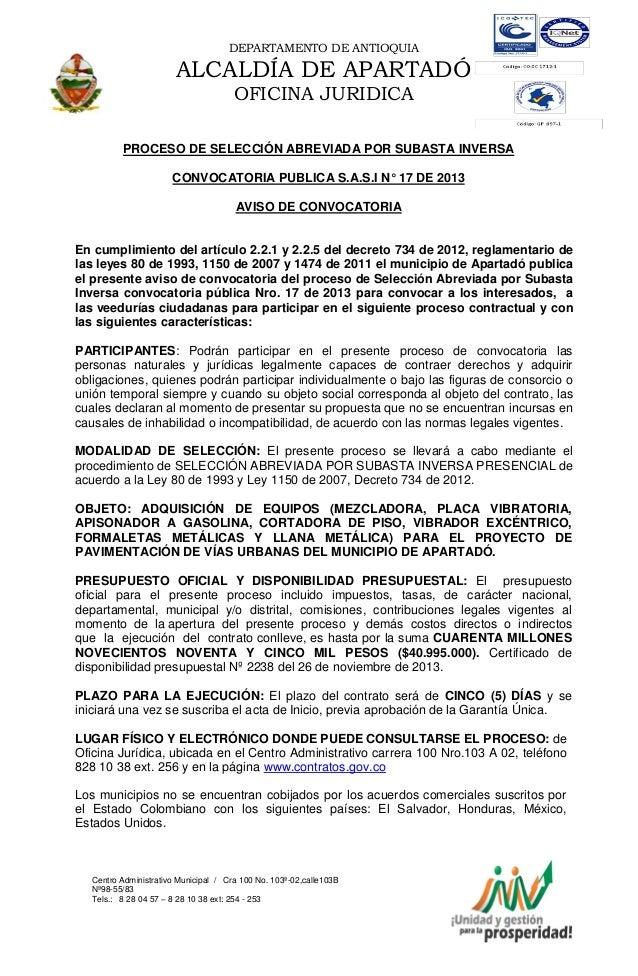 DEPARTAMENTO DE ANTIOQUIA  ALCALDÍA DE APARTADÓ OFICINA JURIDICA PROCESO DE SELECCIÓN ABREVIADA POR SUBASTA INVERSA CONVOC...