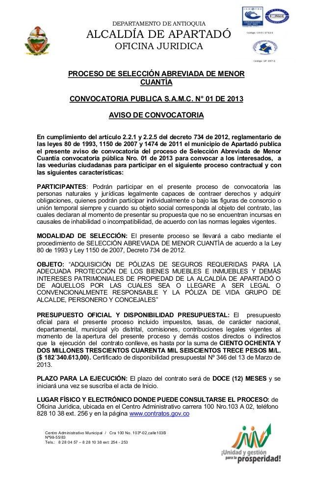 DEPARTAMENTO DE ANTIOQUIA                       ALCALDÍA DE APARTADÓ                                      OFICINA JURIDICA...