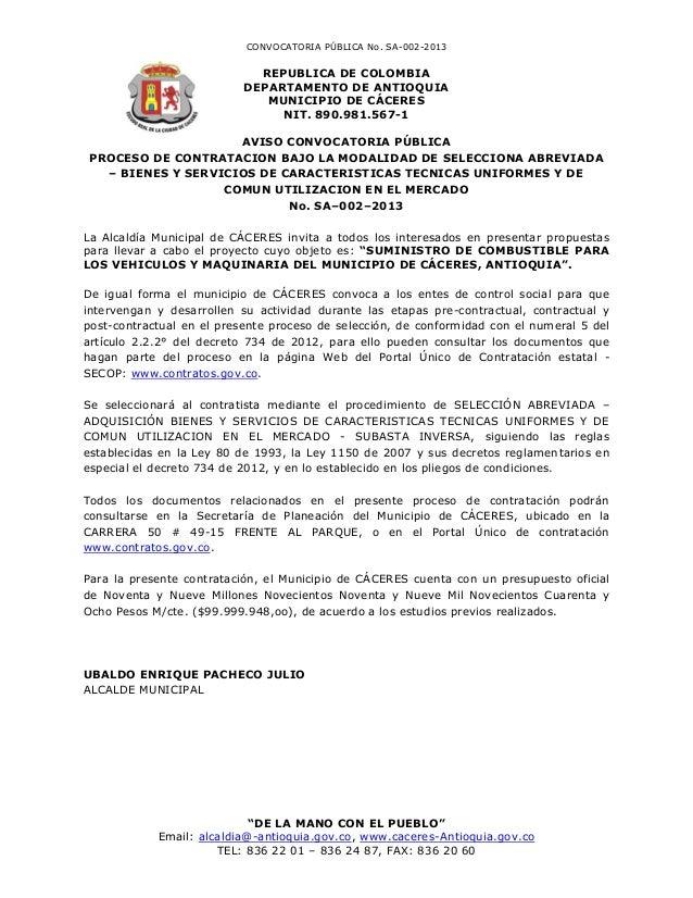 CONVOCATORIA PÚBLICA No. SA-002-2013                             REPUBLICA DE COLOMBIA                           DEPARTAME...
