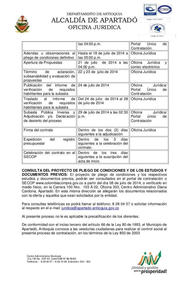 DEPARTAMENTO DE ANTIOQUIA ALCALDÍA DE APARTADÓ OFICINA JURIDICA Centro Administrativo Municipal Cra 100 No. 103ª-02, Calle...