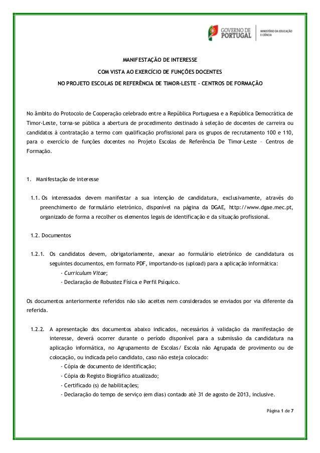 Página 1 de 7 MANIFESTAÇÃO DE INTERESSE COM VISTA AO EXERCÍCIO DE FUNÇÕES DOCENTES NO PROJETO ESCOLAS DE REFERÊNCIA DE TIM...
