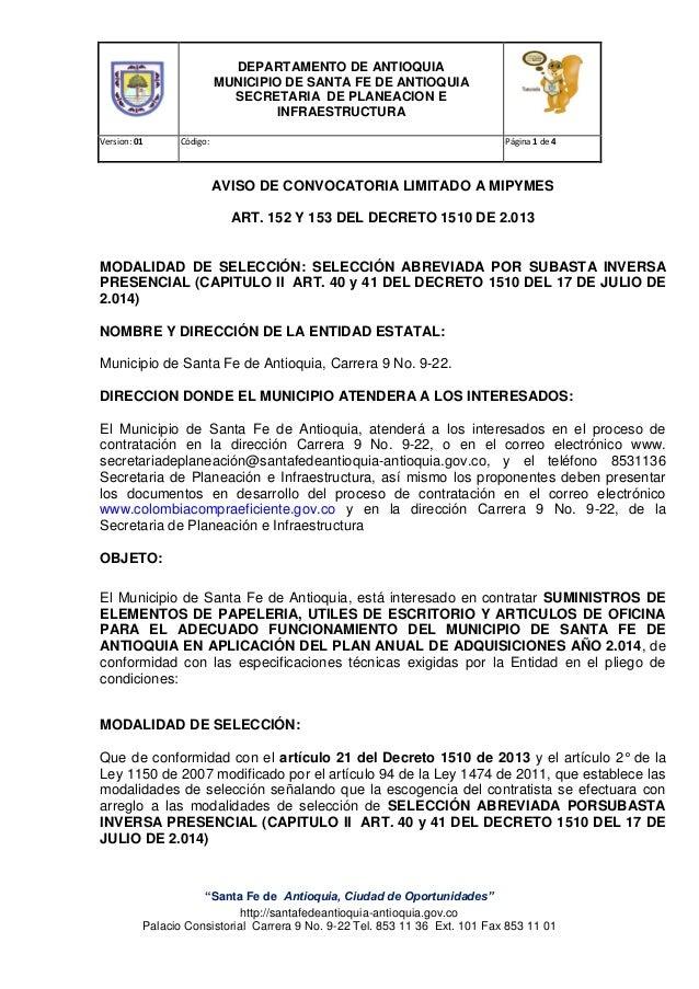 DEPARTAMENTO DE ANTIOQUIA MUNICIPIO DE SANTA FE DE ANTIOQUIA SECRETARIA DE PLANEACION E INFRAESTRUCTURA Version: 01 Código...