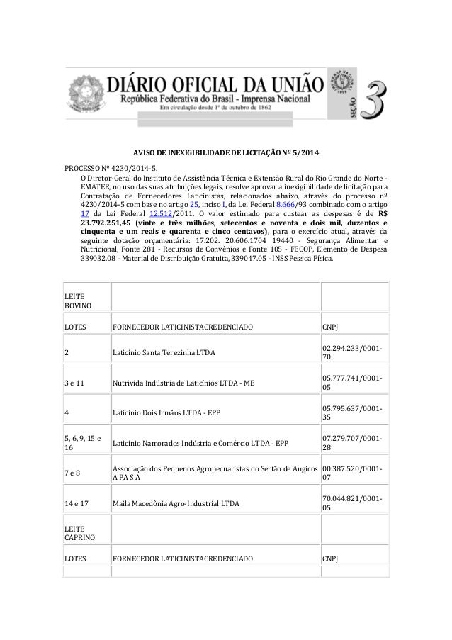 AVISO DE INEXIGIBILIDADE DE LICITAÇÃO Nº 5/2014 PROCESSO Nº 4230/2014-5. O Diretor-Geral do Instituto de Assistência Técni...