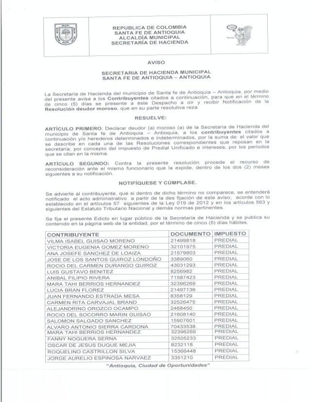 AVISO DE LA SECRETARÍA DE HACIENDA PARA DEUDORES MOROSOS