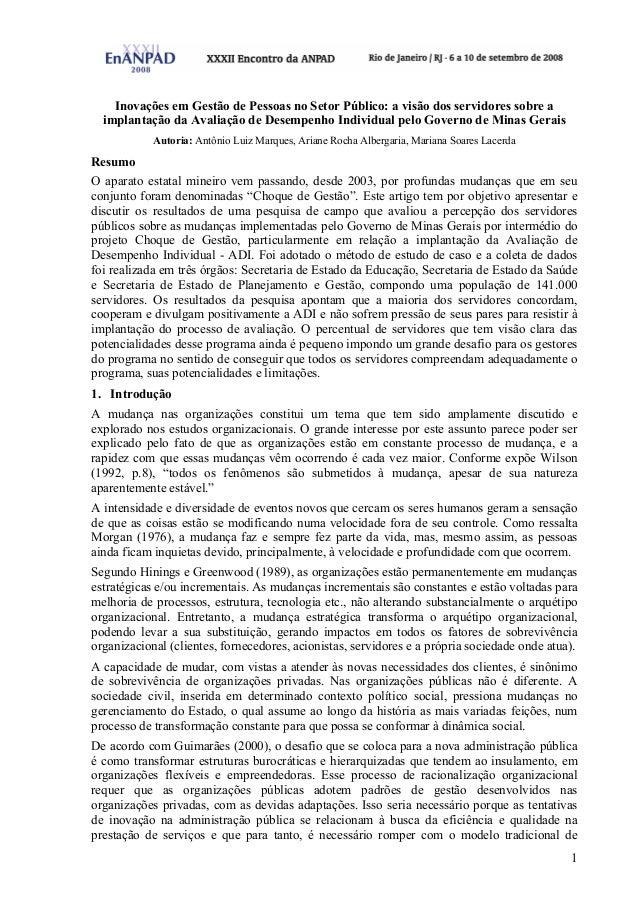 1 Inovações em Gestão de Pessoas no Setor Público: a visão dos servidores sobre a implantação da Avaliação de Desempenho I...