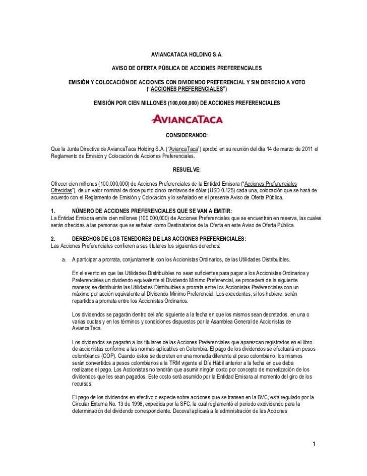 AVIANCATACA HOLDING S.A.                            AVISO DE OFERTA PÚBLICA DE ACCIONES PREFERENCIALES         EMISIÓN Y C...