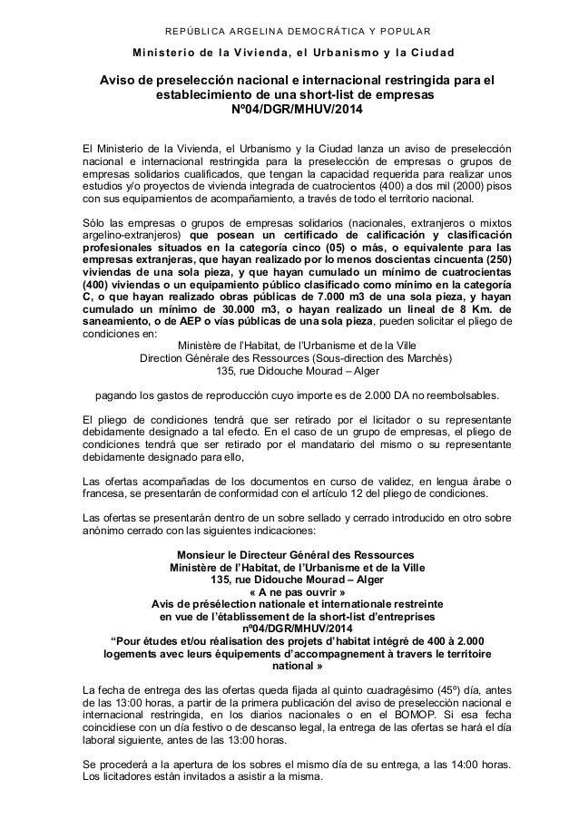 REPÚBLICA ARGELINA DEMOCRÁTICA Y POPULAR Ministerio de la Vivienda, el Urbanismo y la Ciudad Aviso de preselección naciona...