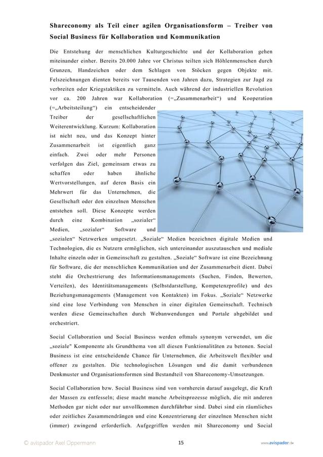 Shareconomy als Teil einer agilen Organisationsform – Treiber vonSocial Business für Kollaboration und KommunikationDie En...