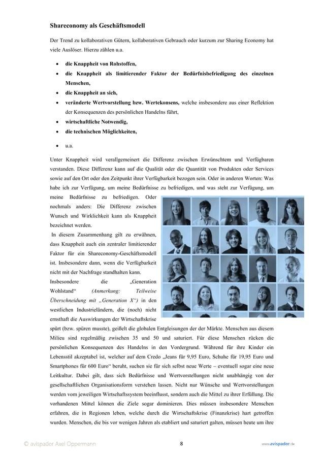 Shareconomy als GeschäftsmodellDer Trend zu kollaborativen Gütern, kollaborativen Gebrauch oder kurzum zur Sharing Economy...