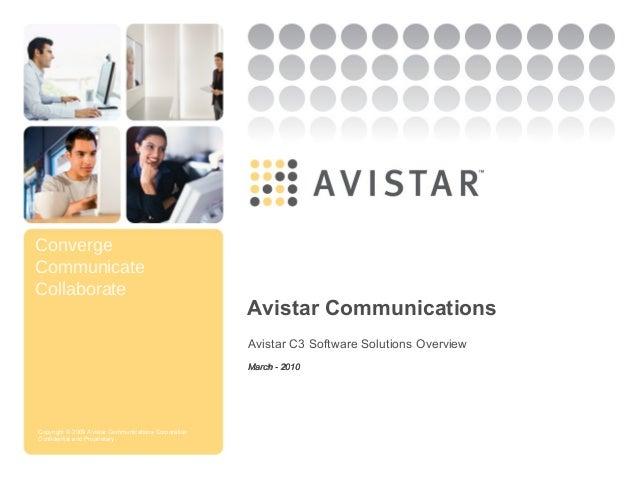 Converge Communicate Collaborate Copyright © 2009 Avistar Communications Corporation Confidential and Proprietary Avistar ...