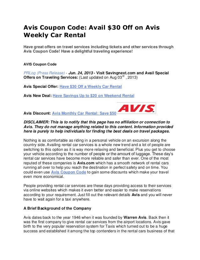 Avis Weekly Car Rental