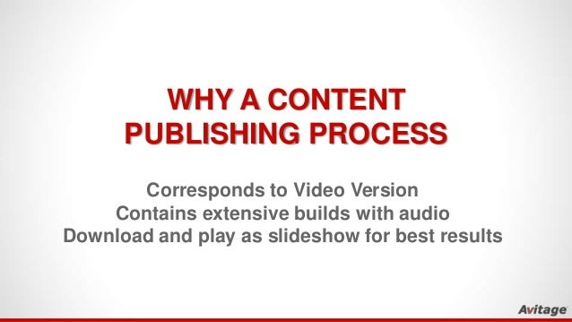 WHY A CONTENT PUBLISHING PROCESS Corresponds to Video Version Contains extensive builds with audio Download and play as sl...