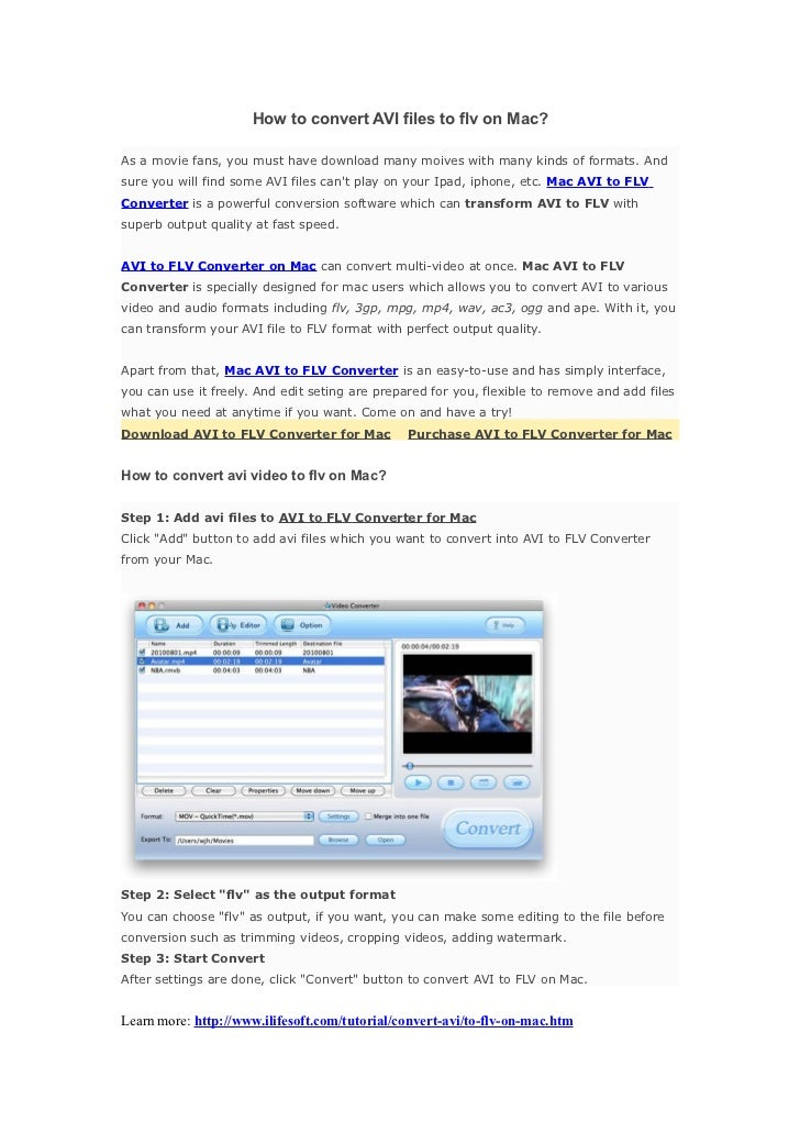 AVI to FLV on Mac - How to convert AVI to FLV on Mac with Mac Converter AVI to FLV?