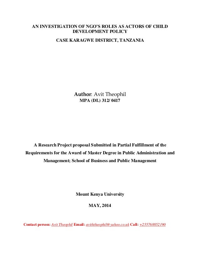 AN INVESTIGATION OF NGO'S ROLES AS ACTORS OF CHILD DEVELOPMENT POLICY CASE KARAGWE DISTRICT, TANZANIA Author: Avit Theophi...