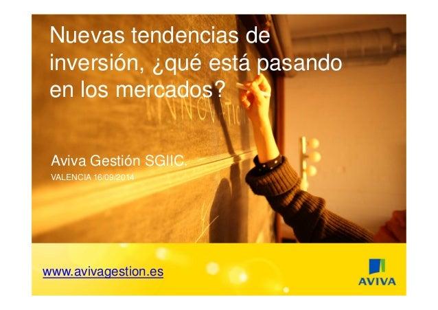 Nuevas tendencias de  inversión, ¿qué está pasando  en los mercados?  Aviva Gestión SGIIC.  VALENCIA 16/09/2014  www.aviva...