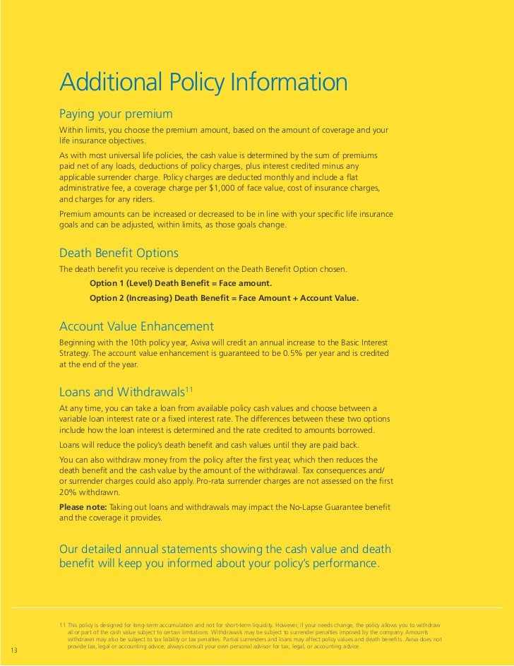 Aviva index universal life insurance crediting interest to ...