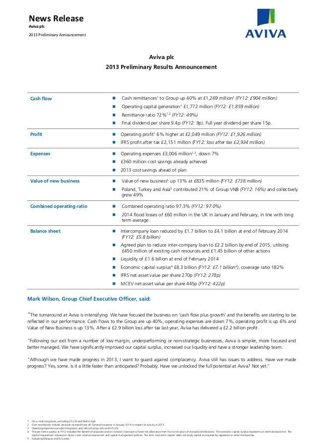 NewsRelease Avivaplc 2013PreliminaryAnnouncement  Aviva plc 2013 Preliminary Results Announcement  Cash flow  Ca...