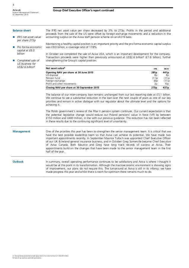 strategic management aviva plc report Aviva ceo on earnings, dividends, growth strategy  aviva investors, the asset  management business of aviva plc, on wednesday named sue jarvis as.