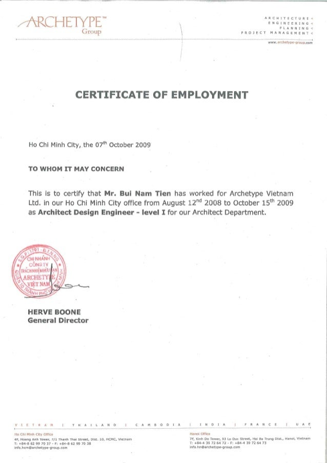 sample of certification of employment