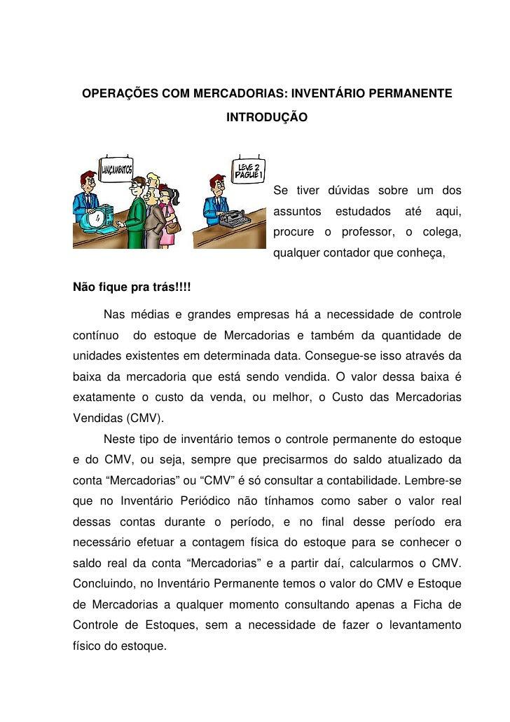 OPERAÇÕES COM MERCADORIAS: INVENTÁRIO PERMANENTE                           INTRODUÇÃO                                    S...