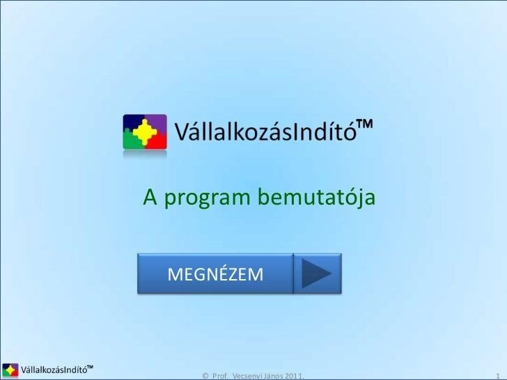 ©  Prof.  Vecsenyi János 2011.<br />1<br />A program bemutatója<br />MEGNÉZEM<br />