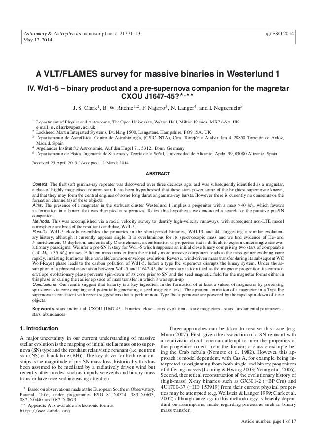 Astronomy & Astrophysics manuscript no. aa21771-13 c ESO 2014 May 12, 2014 A VLT/FLAMES survey for massive binaries in Wes...