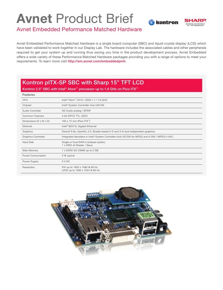 Avnet Product BriefAvnet Embedded Peformance Matched HardwareAvnet Embedded Performance Matched Hardware is a single board...
