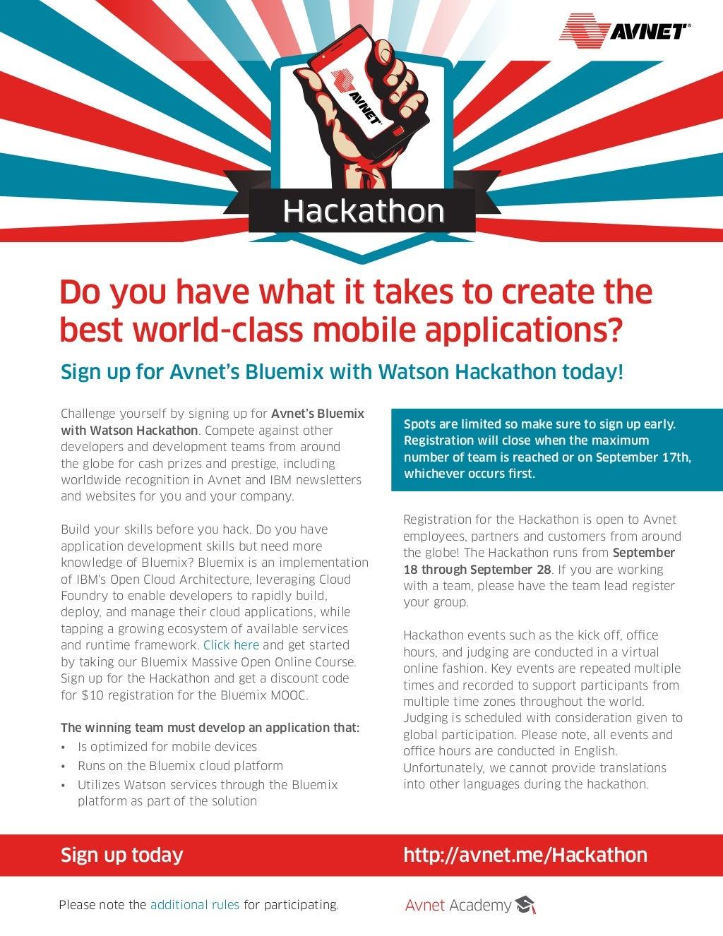 Avnet Academy Hackathon with IBM Bluemix & Watson
