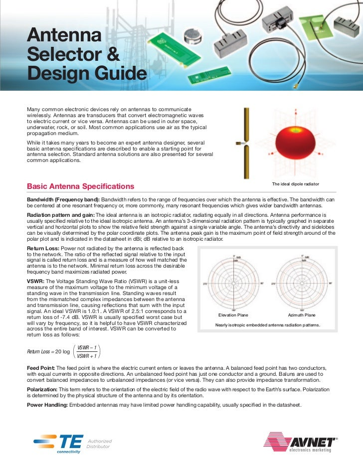AntennaSelector &Design GuideMany common electronic devices rely on antennas to communicatewirelessly. Antennas are transd...