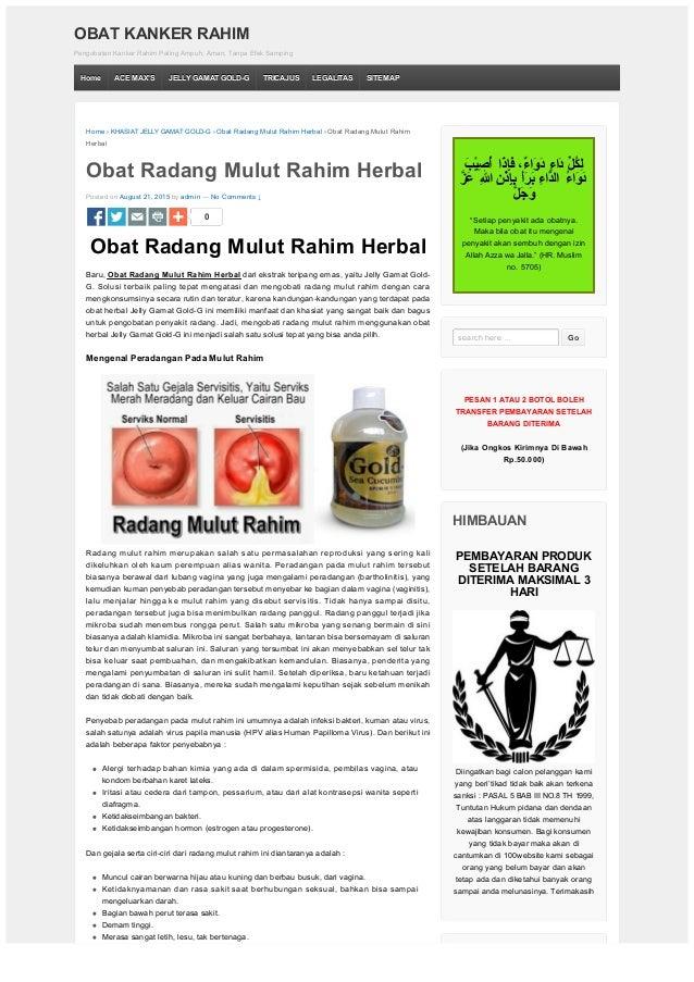 Obat Radang Mulut Rahim Herbal | OBAT KANKER RAHIM