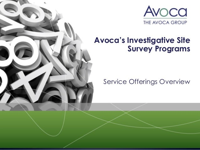 Avoca's Investigative Site  Survey Programs  Service Offerings Overview