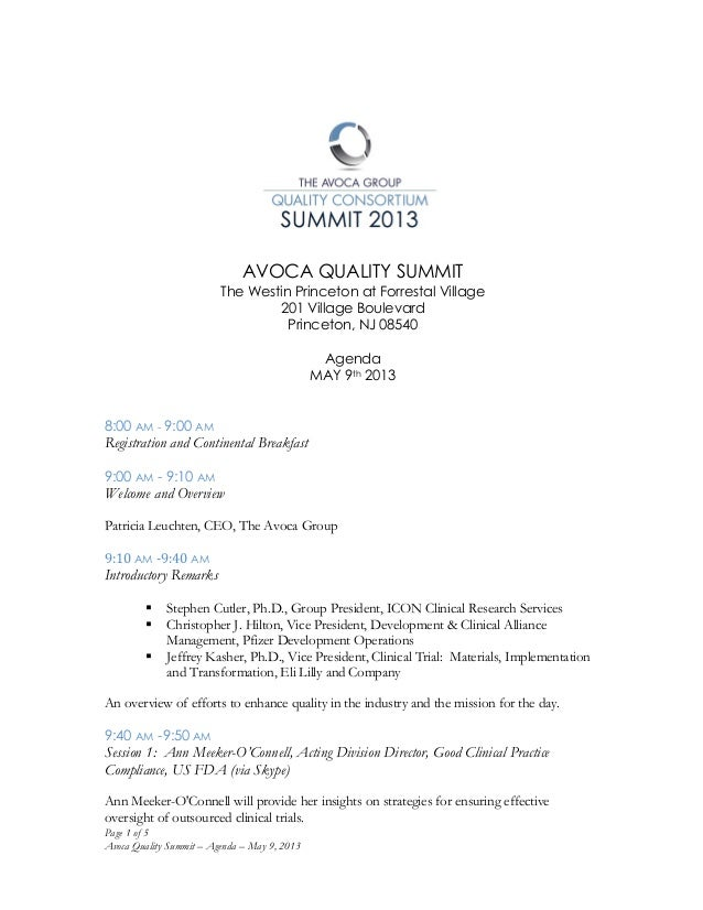 Page 1 of 5Avoca Quality Summit – Agenda – May 9, 2013	  	  	  AVOCA QUALITY SUMMITThe Westin Princeton at Forrestal Villa...