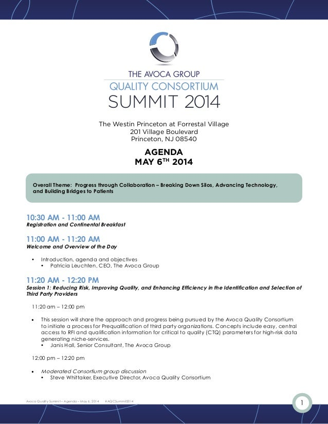1Avoca Quality Summit – Agenda – May 6, 2014 #AQCSummit2014 Overall Theme: Progress through Collaboration – Breaking Down ...