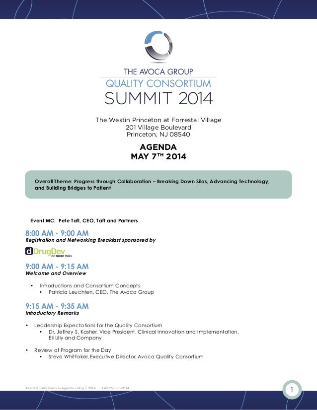 1Avoca Quality Summit – Agenda – May 7, 2014 #AQCSummit2014 Overall Theme: Progress through Collaboration – Breaking Down ...