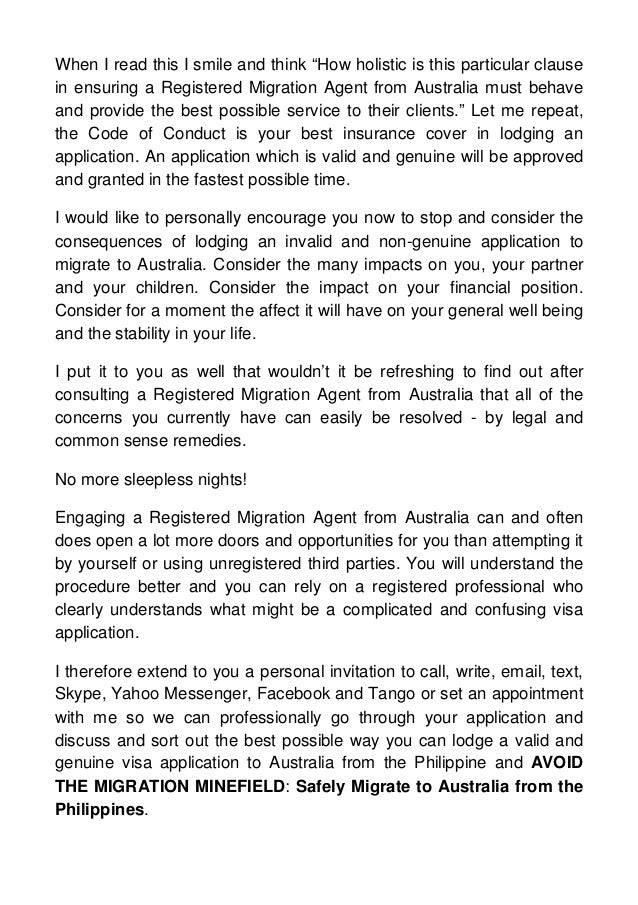 how to write a letter of advice to migration agent