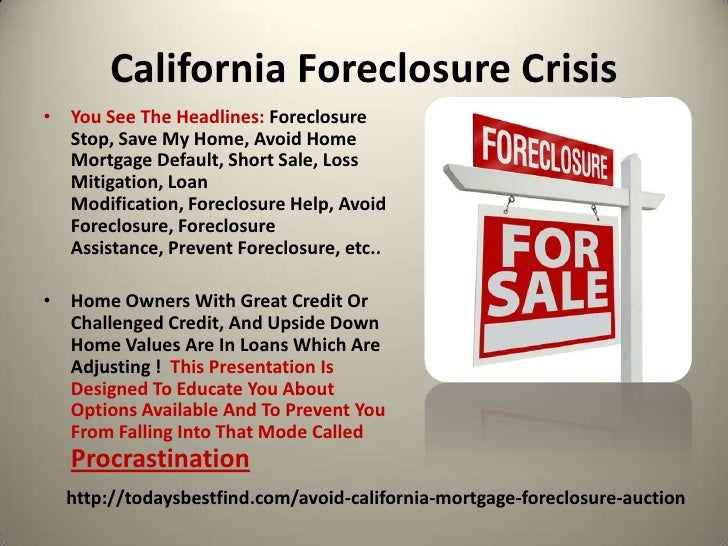 how to stop the foreclosure crisis essay How to stop foreclosure in california california foreclosure process: day 1, missed payment this bill stops banks from continuing the foreclosure process while a loan modification application is pending combined with the large backlog of foreclosures still clogging the banks' systems, this law.