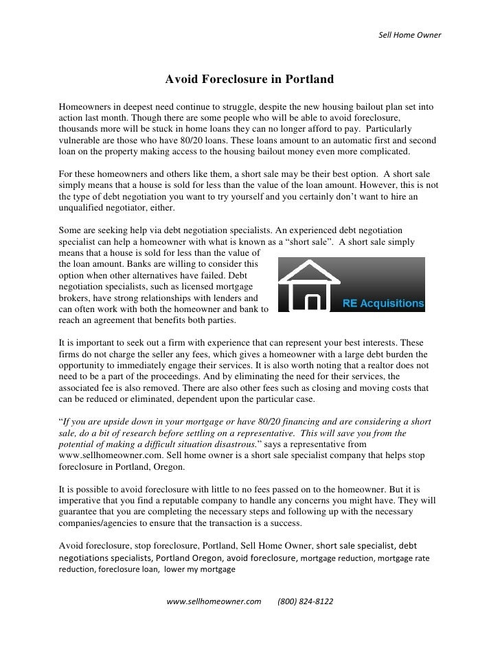 Sell Home Owner                                Avoid Foreclosure in Portland  Homeowners in deepest need continue to strug...