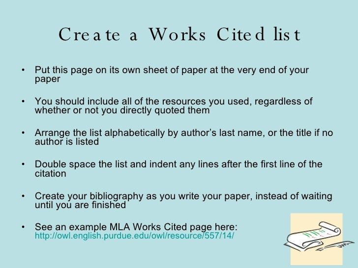 write a works cited page