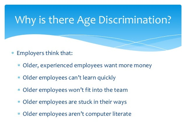 age discrimination term paper Discrimination term papers (paper 18067) on reverse discrimination : reverse discrimination: the reprecussions of affirmative action discrimination in employment has been an issue that has plagued our society.