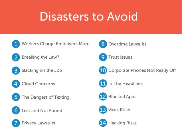 Disasters to Avoid Workers Charge Employers More Breaking the Law? Slacking on the Job Cloud Concerns The Dangers of Texti...