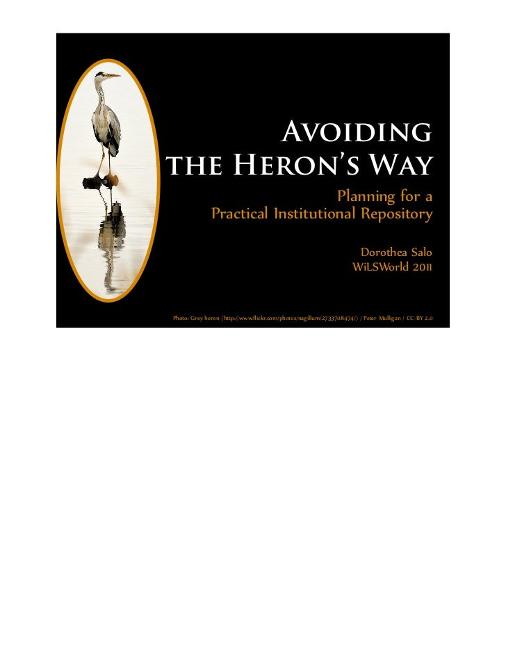 Avoidingthe Heron's Way                                  Planning for a              Practical Institutional Repository   ...