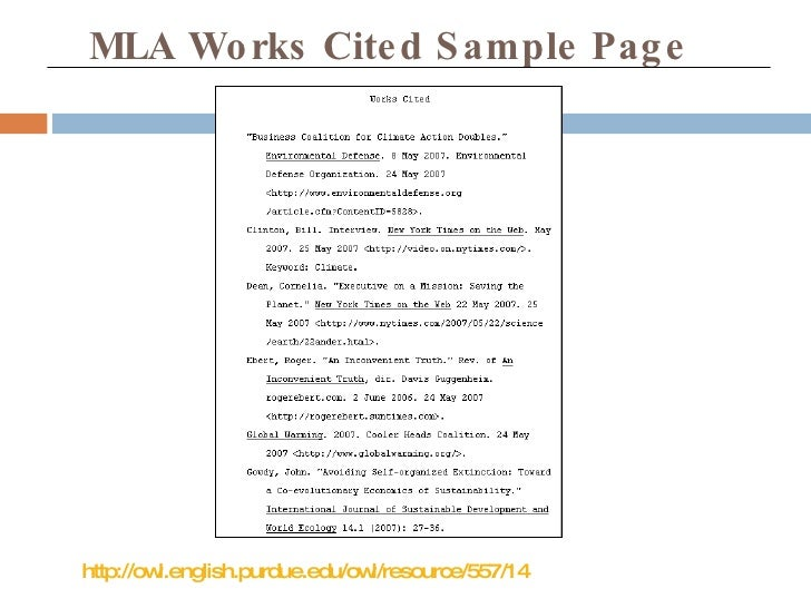 Mla works cited online essay