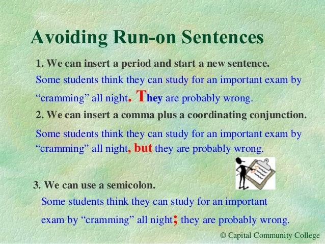 avoiding run on sentences