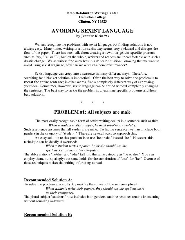 Dissertation language sexist